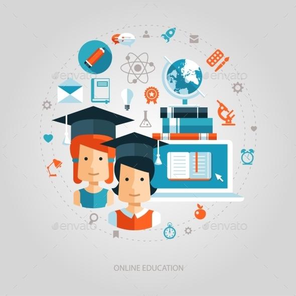 Illustration Of Flat Design Education Composition - Web Technology