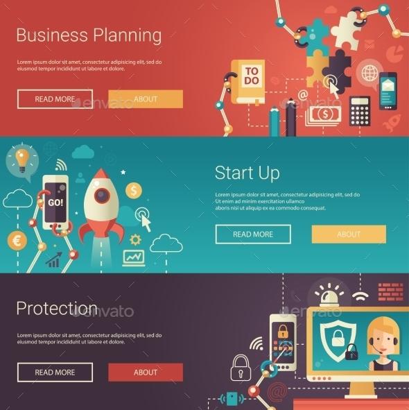 Set of Modern Flat Design Business Banners