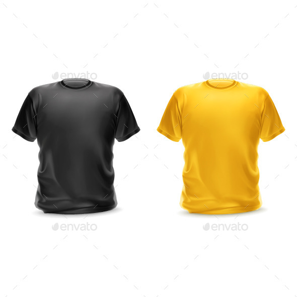 Black and Yellow T-Shirts - Man-made Objects Objects
