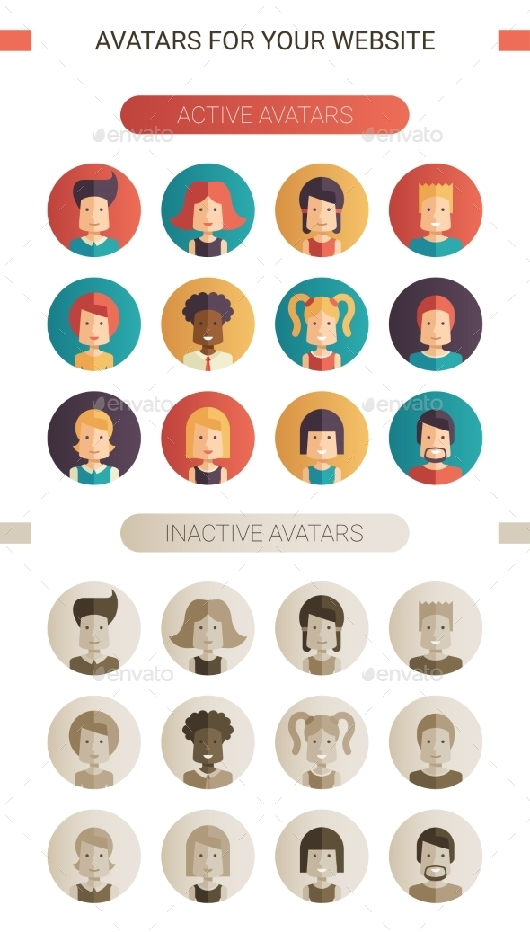 Set of Isolated Flat Design People Icon Avatars - People Characters