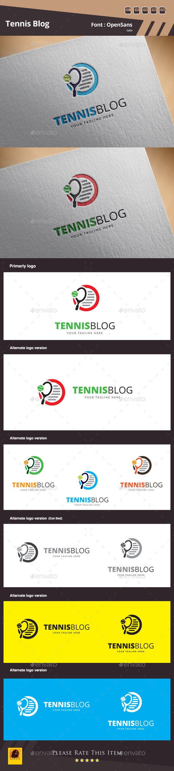 Tennis Blog Logo Template