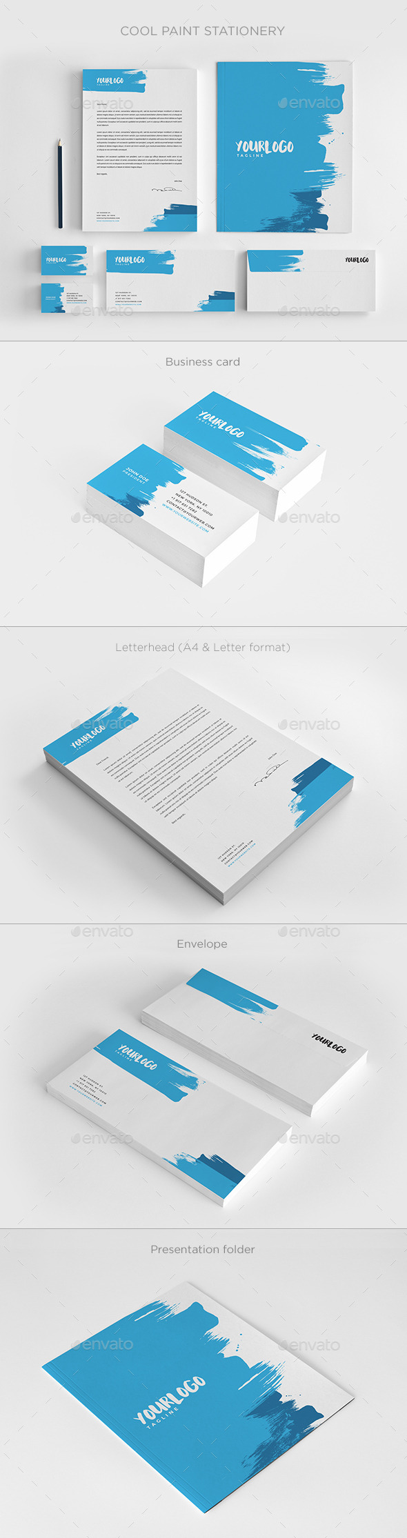 Cool Paint Stationery - Stationery Print Templates
