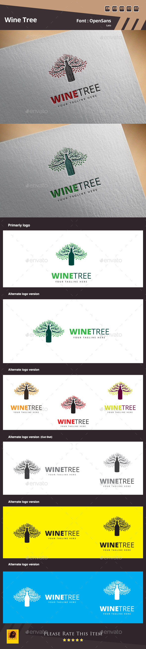 Wine Tree Logo Template - Food Logo Templates