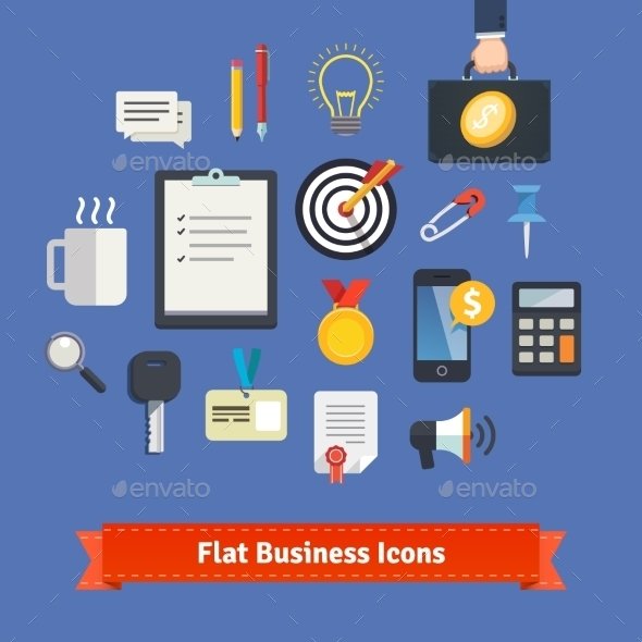 Flat Style Business Icons Set - Concepts Business