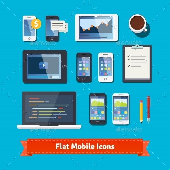 Mobile Development Flat Icons Set - Computers Technology