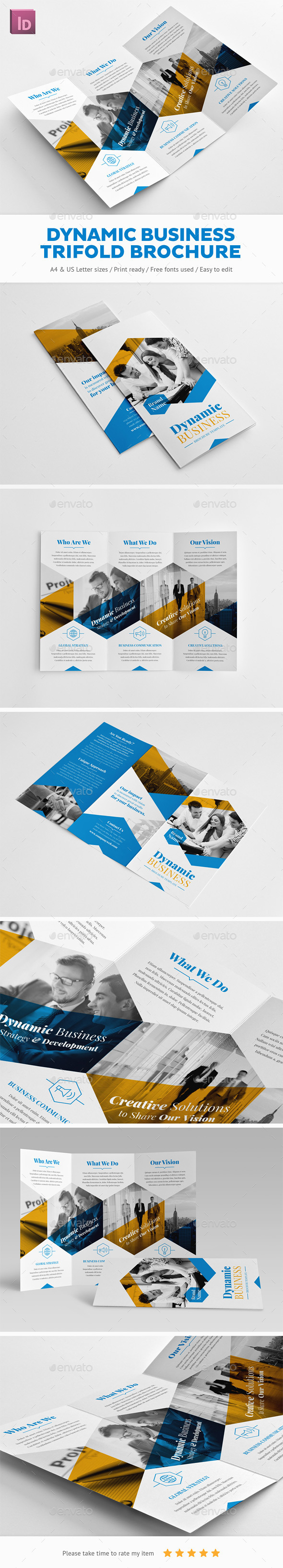 Dynamic Business Trifold Brochure - Corporate Brochures