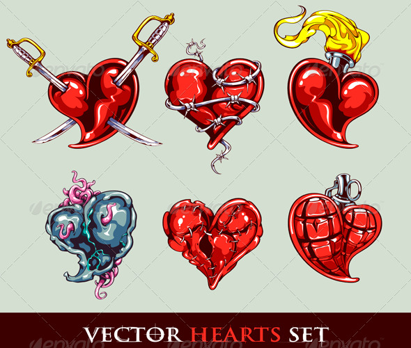 Set of Vector Tattoo Stylized Hearts - Tattoos Vectors
