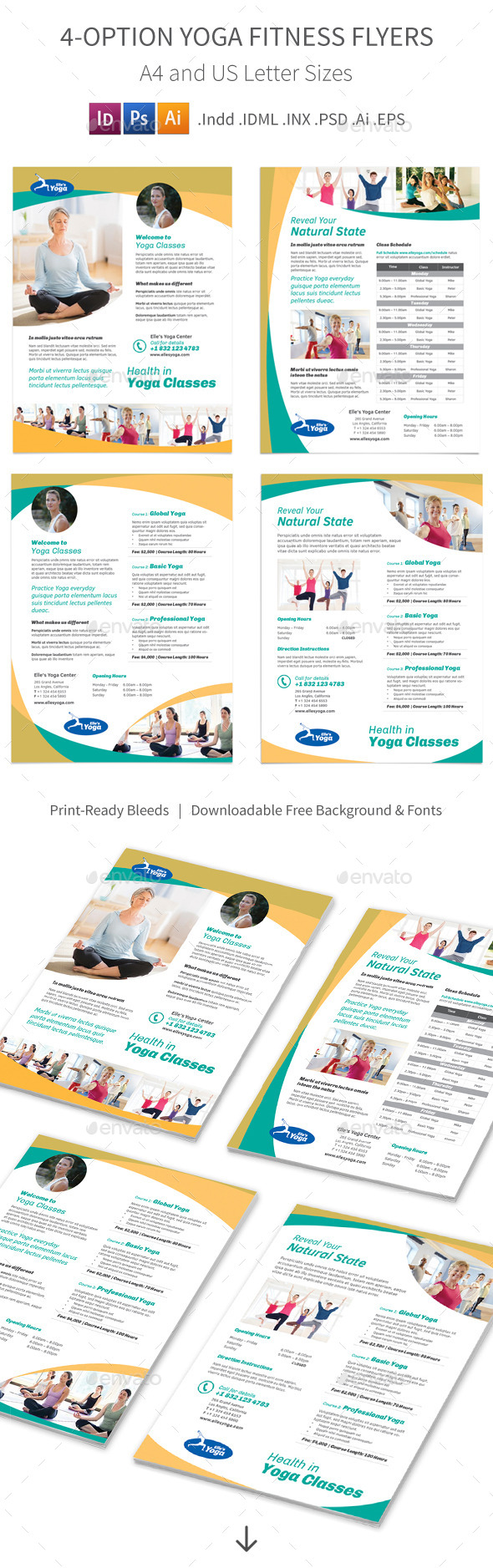 Yoga Fitness Flyers – 4 Options - Corporate Flyers