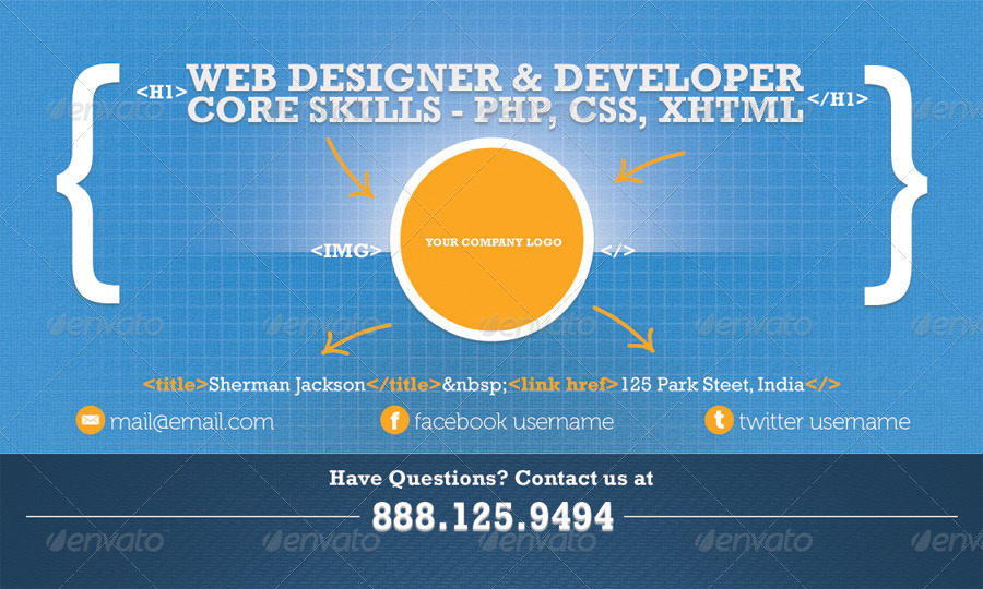 Creative web designerdeveloper business card by shermanjackson creative web designerdeveloper business card creative business cards previews01frontg reheart
