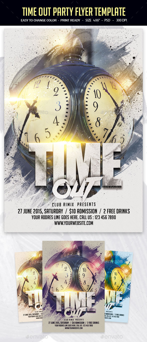 Time Out Party Flyer Template