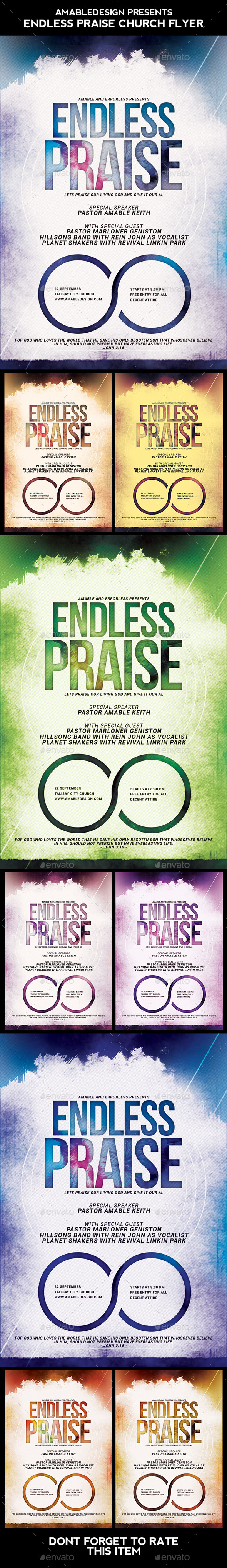 Endless Praise Church Flyer - Concerts Events