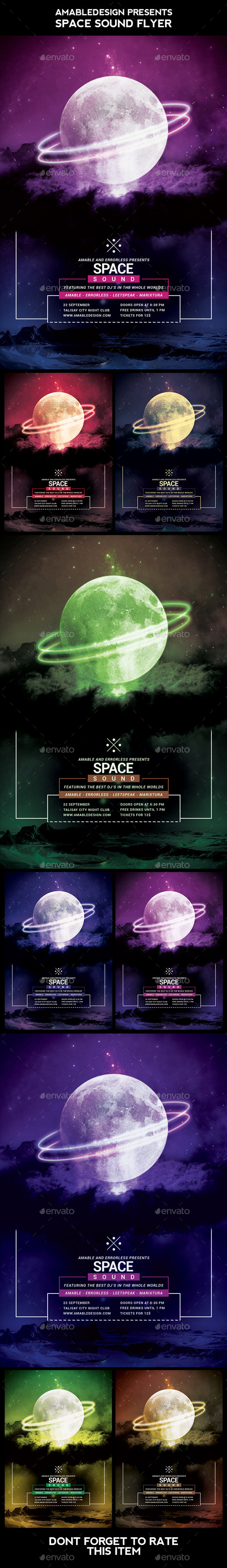 Space Sound Flyer - Clubs & Parties Events