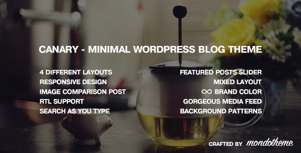 Canary - Minimal WordPress Blog Theme - Personal Blog / Magazine
