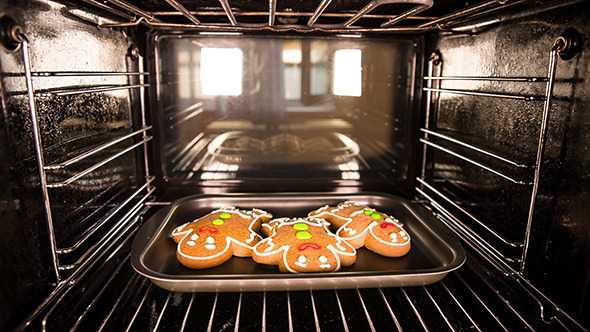 Baking Gingerbread Man In The Oven By Cookelma Videohive