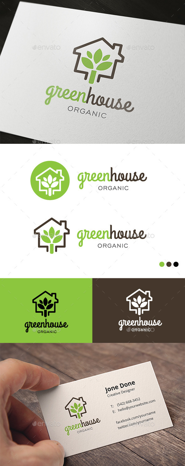 Green House Organic - Buildings Logo Templates