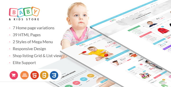 Baby & Kids Store eCommerce HTML Template with RTL Package - Children Retail