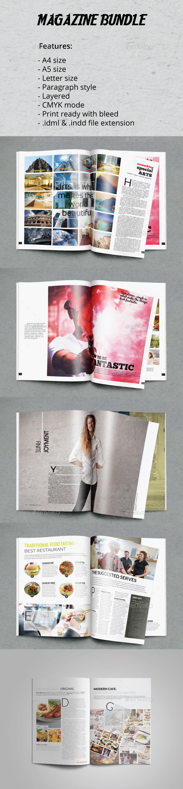 A4 A5 Letter Magazine Bundle Vol.2 - Magazines Print Templates