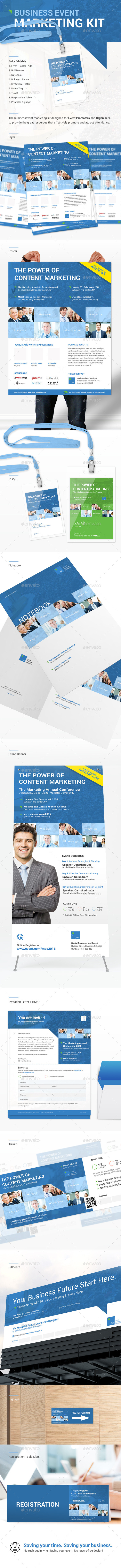 Clean Business Event Marketing Kit - Stationery Print Templates