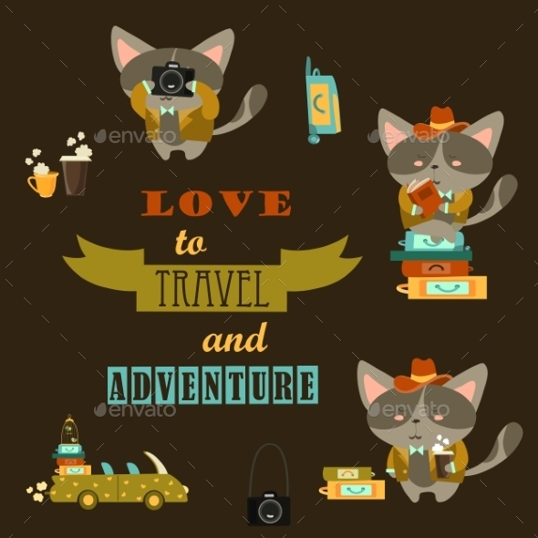 Set Of Cats Travelers  - Travel Conceptual