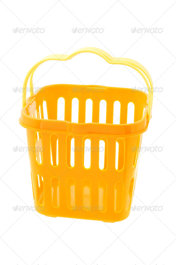 Yellow plastic basket - Stock Photo - Images