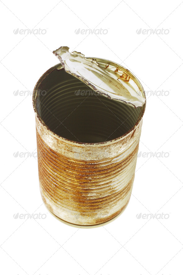 Open rusty tin can - Stock Photo - Images