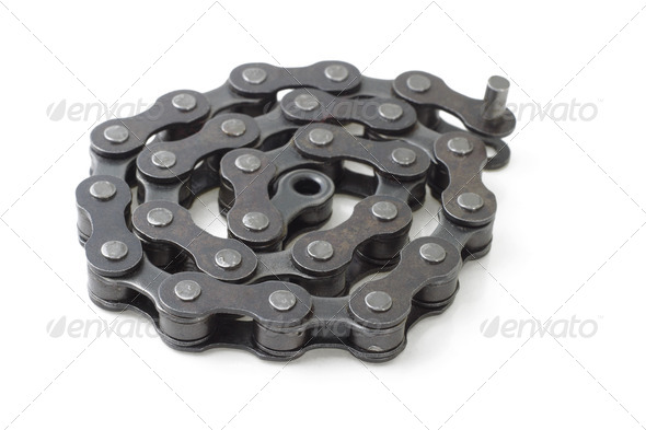 Bicycle metal link chain - Stock Photo - Images