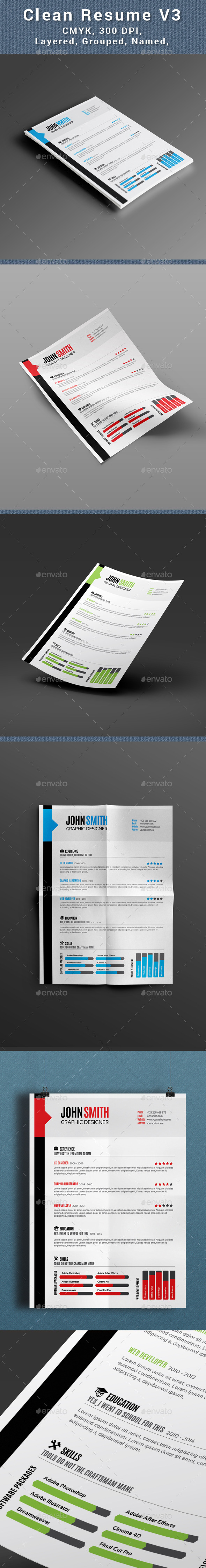Clean Resume V3 - Resumes Stationery