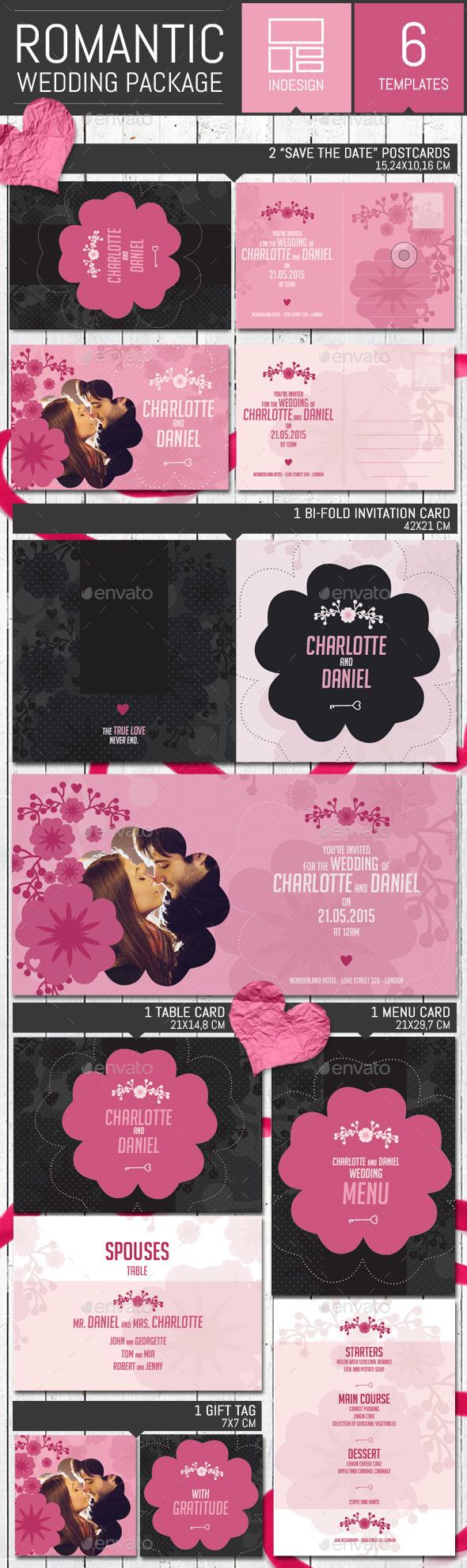 Romantic Wedding Invitation Pack Template - Weddings Cards & Invites