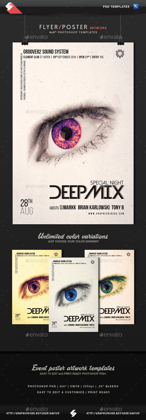 Deep Mix - Party Flyer Artwork Template - Clubs & Parties Events