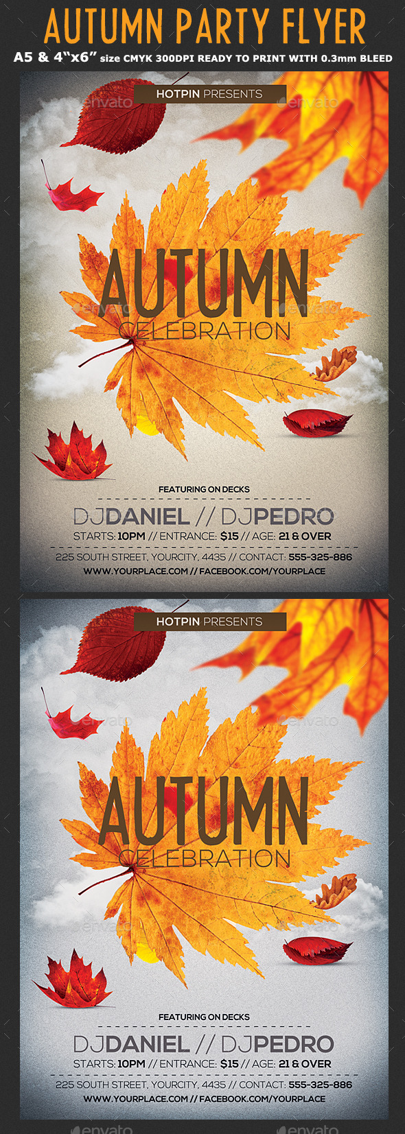 Autumn/Fall Party Flyer Template - Clubs & Parties Events