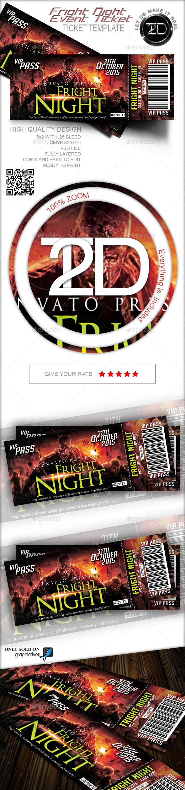 Fright Night Print Ready Event Ticket