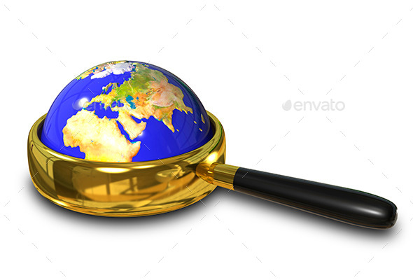 Globe in the Magnifying Glass - Objects 3D Renders