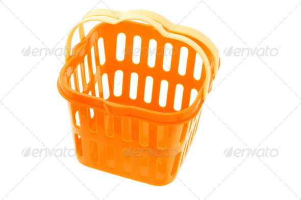 Orange plastic basket - Stock Photo - Images