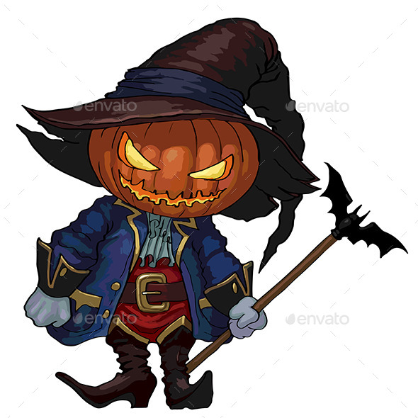 Halloween Character Jack-O-Lantern in Costume - Halloween Seasons/Holidays