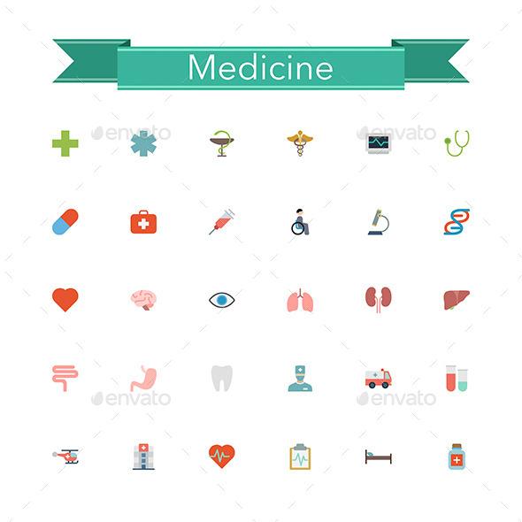 Medicine Flat Icons - Health/Medicine Conceptual