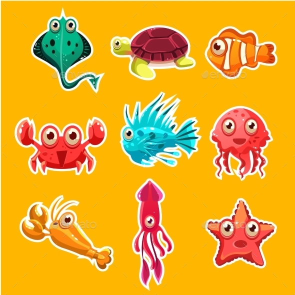 Many Species of Fish and Marine Animal Life - Animals Characters