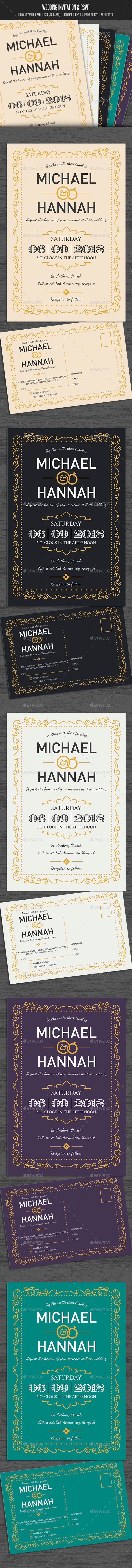 Simple Wedding Invitation & RSVP  - Weddings Cards & Invites