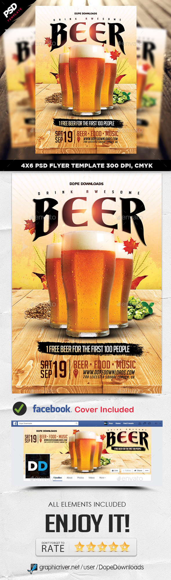 Drink Beer Flyer Template - Events Flyers