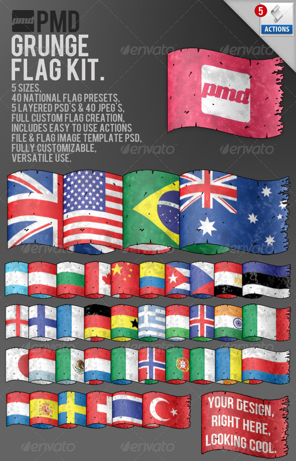 Grunge Flag Kit - Miscellaneous Graphics
