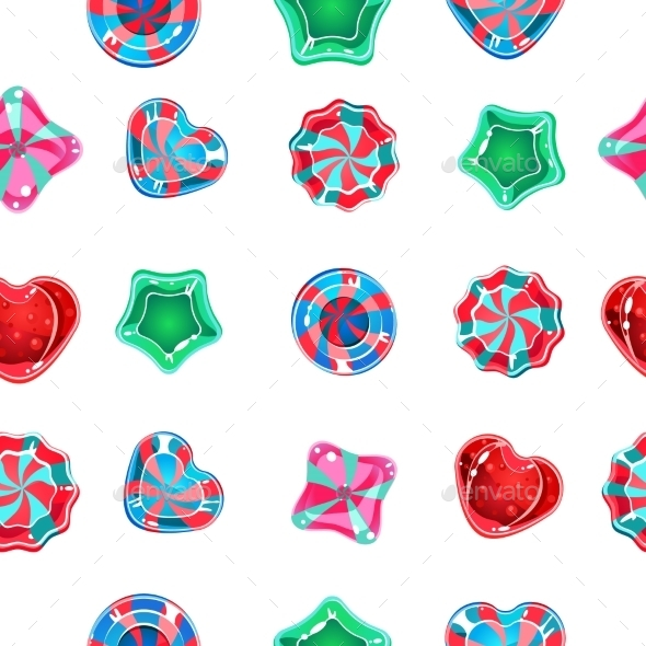 Seamless Background with Colorful Candies - Backgrounds Decorative
