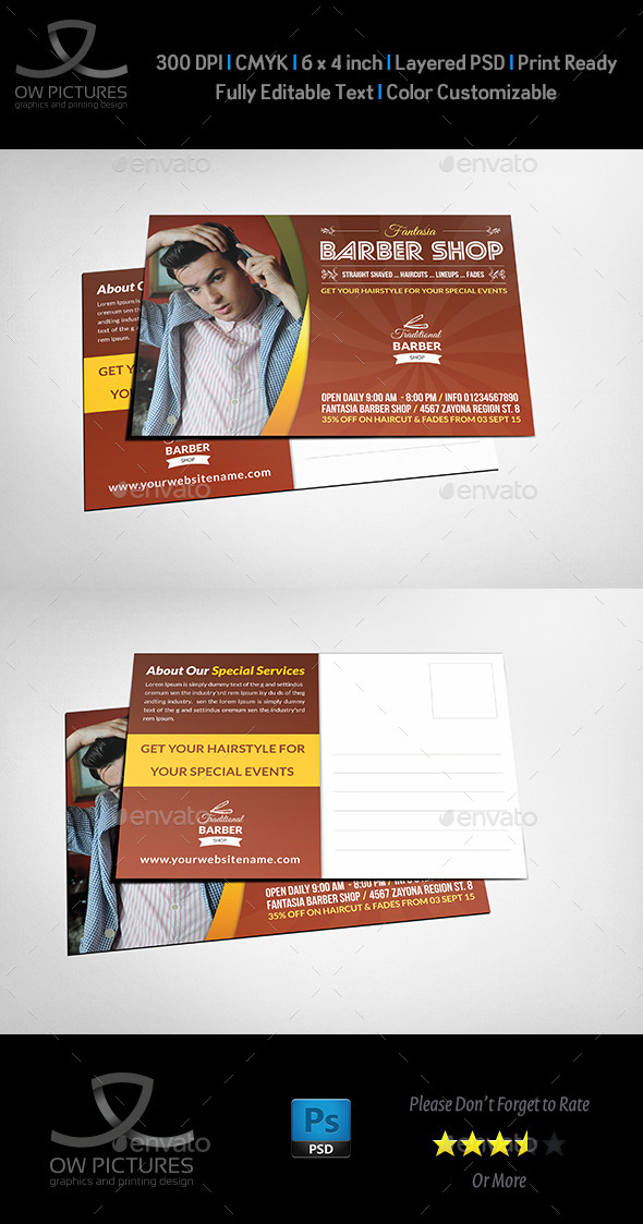 Barber Postcard Template - Cards & Invites Print Templates