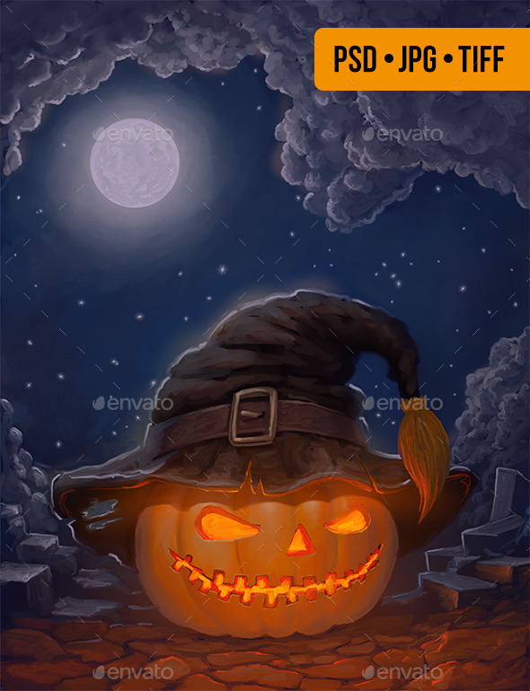 Halloween Pumpkin in a Hat – Copyspace Background - Miscellaneous Backgrounds