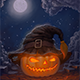 Halloween Pumpkin in a Hat – Copyspace Background - GraphicRiver Item for Sale