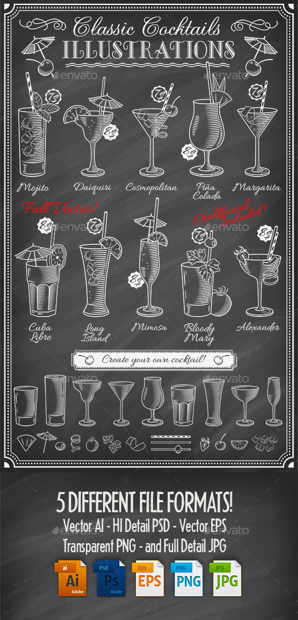 Chalkboard Cocktails Illustrations - Food Objects
