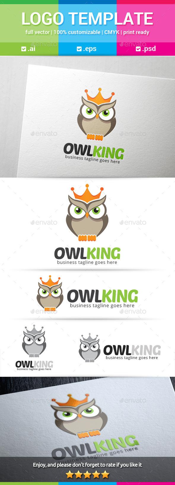Owl King Logo - Animals Logo Templates
