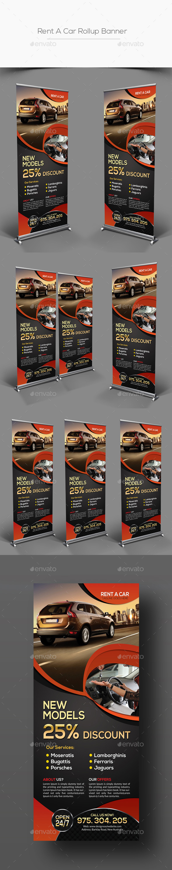 Rent A Car Rollup Banner