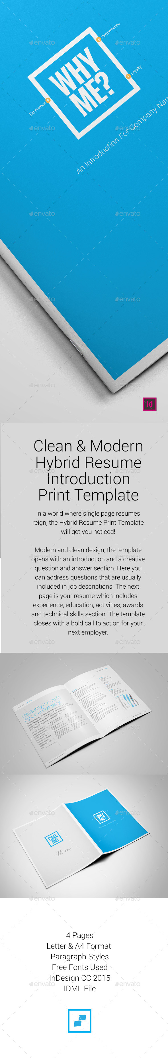 Hybrid Resume Print Template - Resumes Stationery