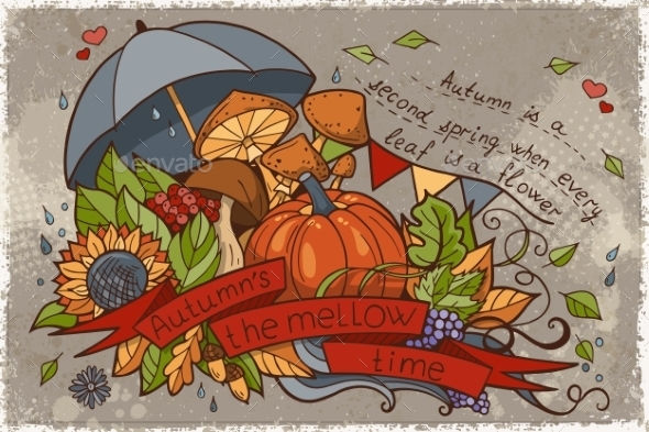 Illustration To The Autumn Season Of Doodles - Seasons Nature