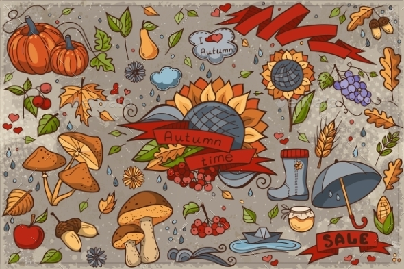 Big Set Of Colored Hand-drawn Doodles On Autumn - Seasons Nature
