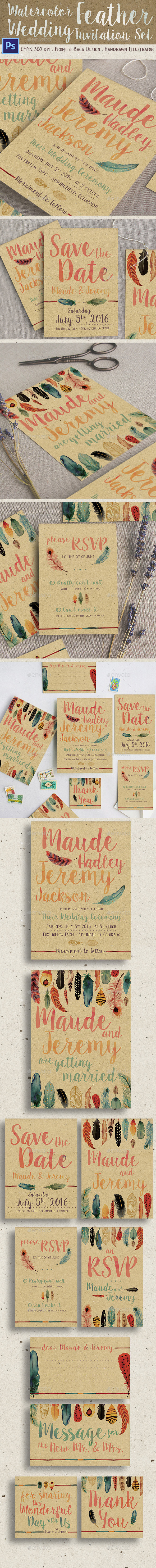 Watercolor Feather Wedding Invitation Set - Weddings Cards & Invites